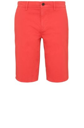 Slim-fit short van stretchkatoen in chinostijl: 'Schino-Slim-Shorts-D', Rood