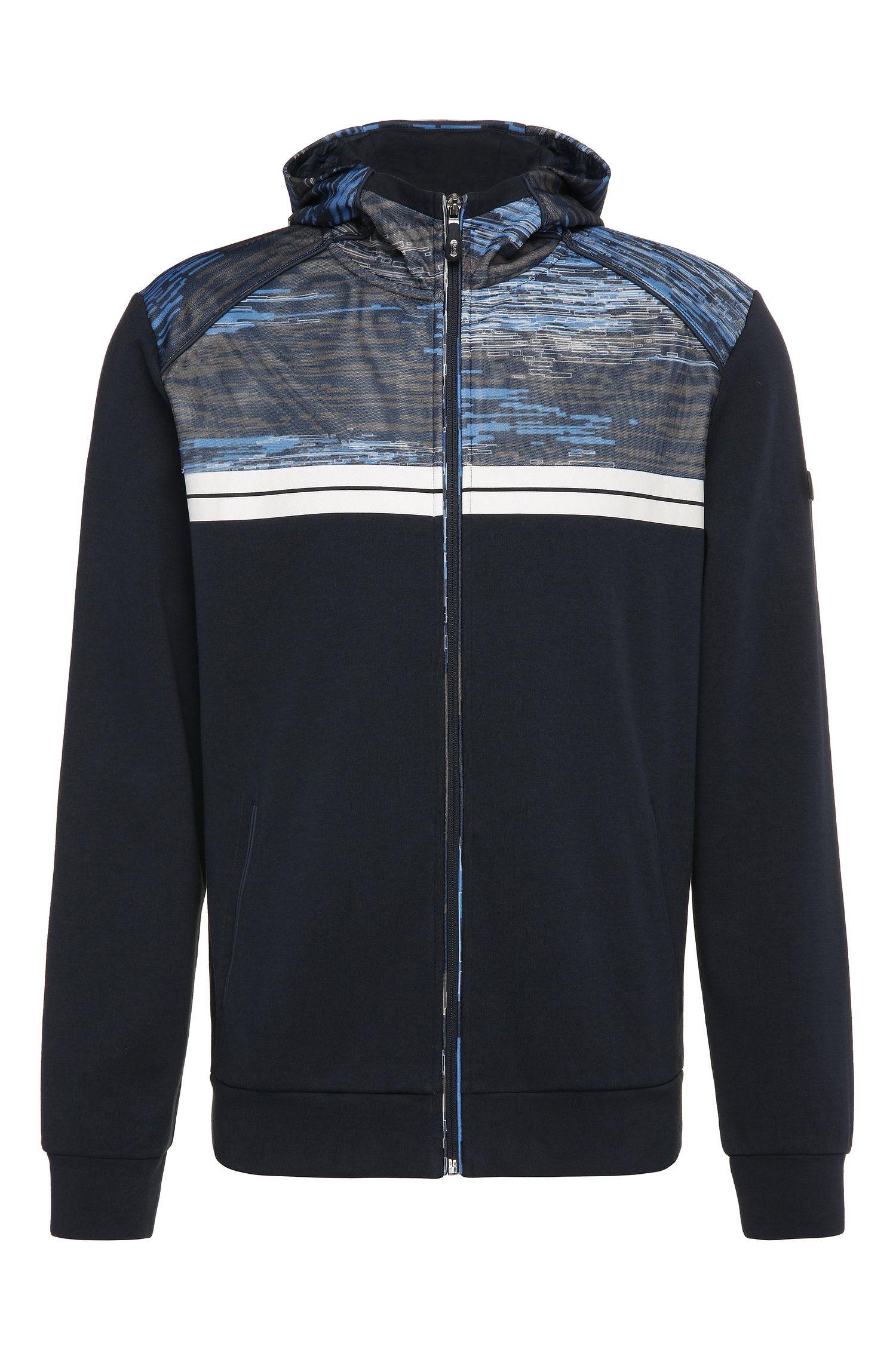 Regular-Fit Sweatshirt-Jacke aus Baumwolle mit gemustertem Besatz: ´Samoo`