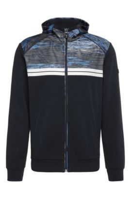 Regular-fit sweatshirt jacket in cotton with patterned trim: 'Samoo', Dark Blue