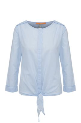Blusa relaxed fit en algodón con textura: 'Civo', Celeste