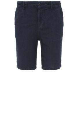 Pantaloncini corti regular fit in lino: 'Siman-Shorts-D', Blu scuro