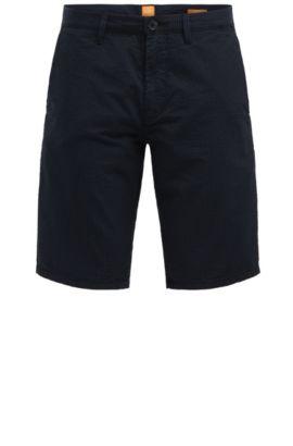 Shorts de algodón slim fit con estampado a rayas: 'Slender-Shorts-W', Azul oscuro