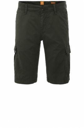 Short cargo Regular Fit en coton: «Schwinn5-Shorts-D», Vert sombre