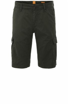 Regular-fit cargo shorts in cotton: 'Schwinn5-Shorts-D', Dark Green