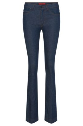 Skinny-fit jeans in cotton blend with flares: 'Ginas', Dark Blue