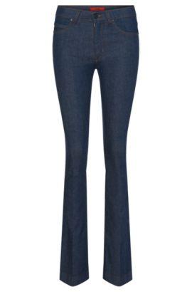 Skinny-Fit Jeans aus Baumwoll-Mix mit ausgestelltem Bein: 'Ginas', Dunkelblau