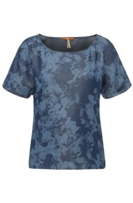 Maglietta regular fit in lyocell dal look jeans: 'Enima', Blu scuro