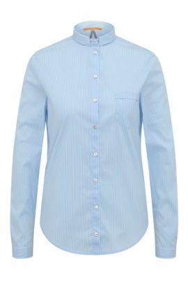Striped slim-fit blouse in cotton with a small collar: 'Egli', Open Blue