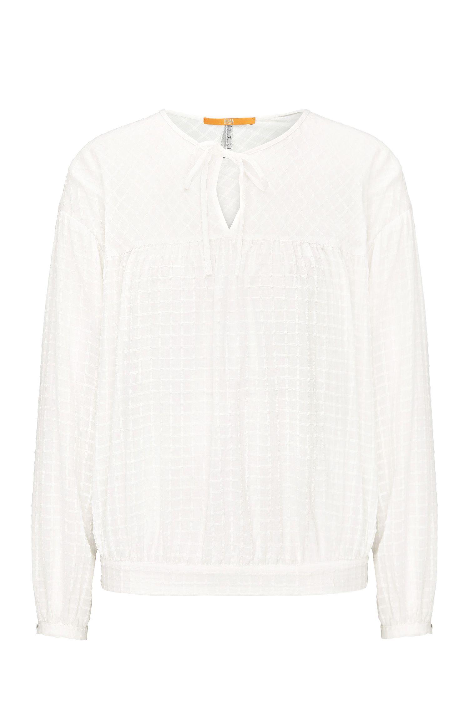 Blusa relaxed fit en mezcla de viscosa con algodón: 'Exotic'