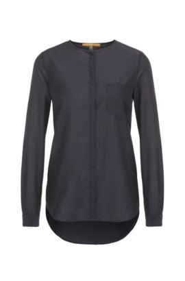 Regular-fit blouse in cotton and silk: 'Eflo', Dark Blue