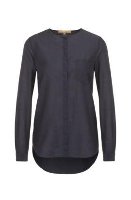 Regular-Fit Bluse aus Baumwolle und Seide: ´Eflo`, Dunkelblau