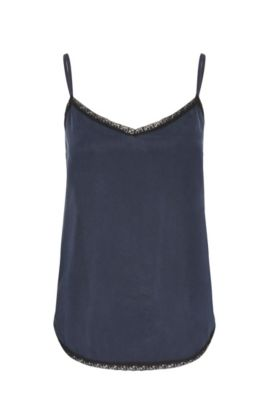 Slim-fit strap top made from silk with lace: 'Etour', Dark Blue