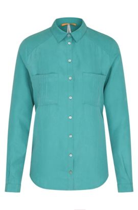 Regular-fit blouse in silk: 'Cimily', Green
