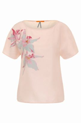 Top regular fit en seda con estampado de flores: 'Enima', Rosa claro