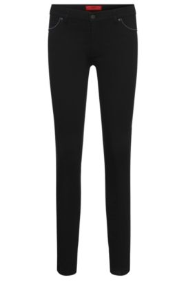 Skinny-fit jeans in stretchy cotton blend with bead trim: 'Georgina/9', Black