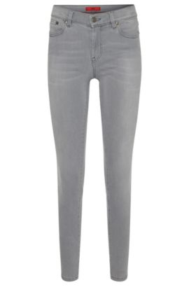 Cropped skinny-fit jeans in a stretchy cotton blend: 'Gilljana/6', Silver