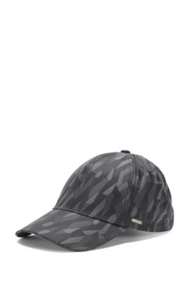 Patterned cap in cotton blend: 'Secamo', Anthracite