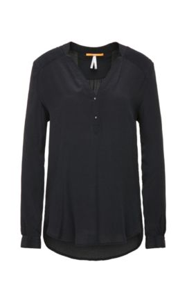Softly draping silk blouse in tunic style: 'Efivee_9', Black