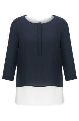 Blusa en mezcla de materiales con acabado en capas: 'Baliana', Celeste