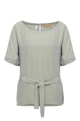 Kimono blouse in a material blend with silk: 'Etai', Khaki