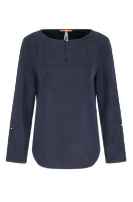 Silk blouse with rolled-up sleeves: 'Cesima', Dark Blue