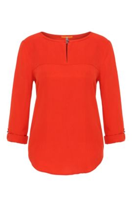 Silk blouse with rolled-up sleeves: 'Cesima', Red