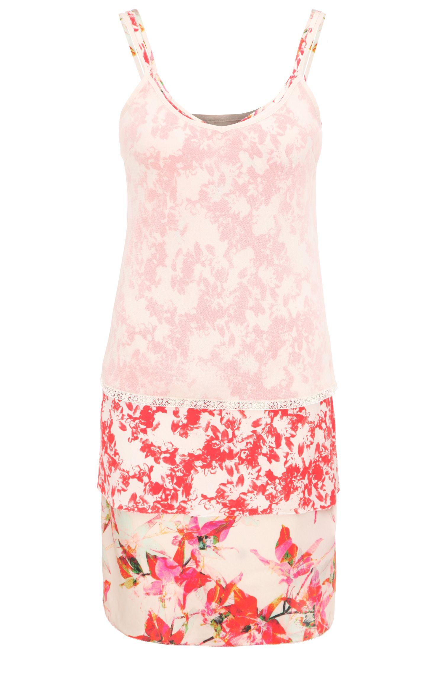 Relaxed-Fit 3-in-1 Trägerkleid aus Viskose-Mix mit Seide und Blumen-Print: ´Citour`