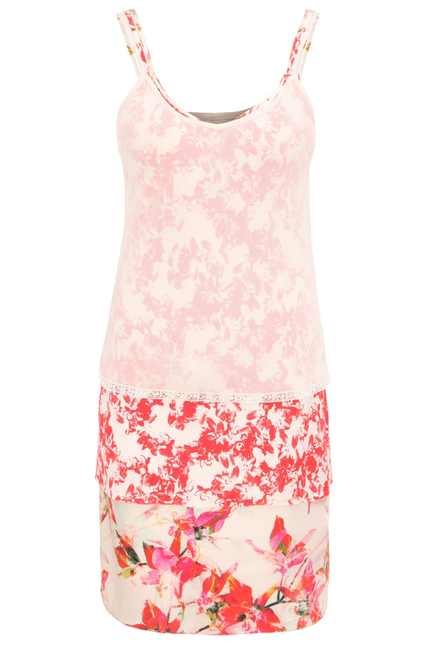 Relaxed-fit 3-in-1 strap dress in a viscose blend with silk and a floral print: 'Citour'