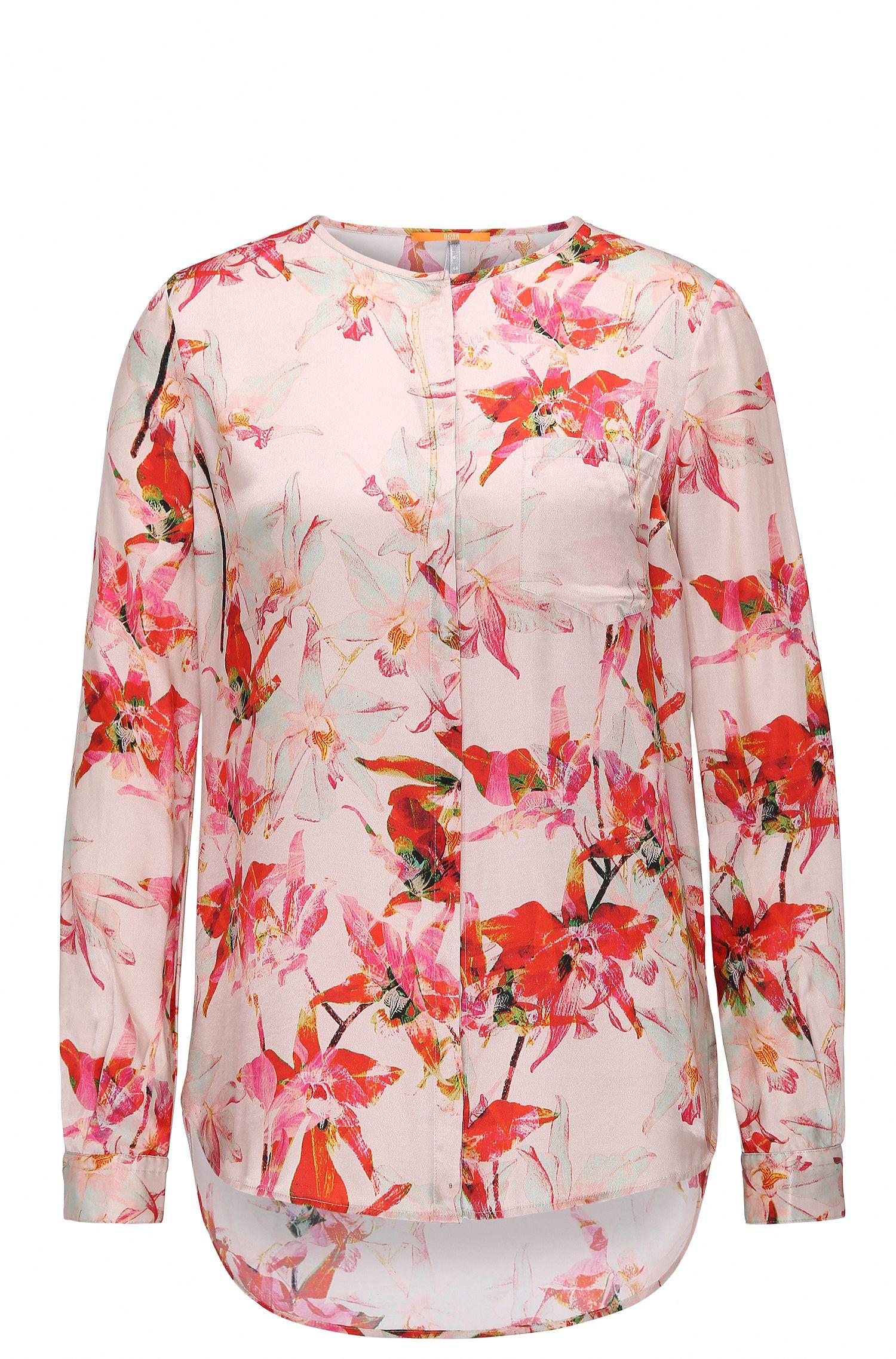 Regular-Fit Bluse aus Seiden-Mix mit Viskose und Blüten-Print: ´Eflo`