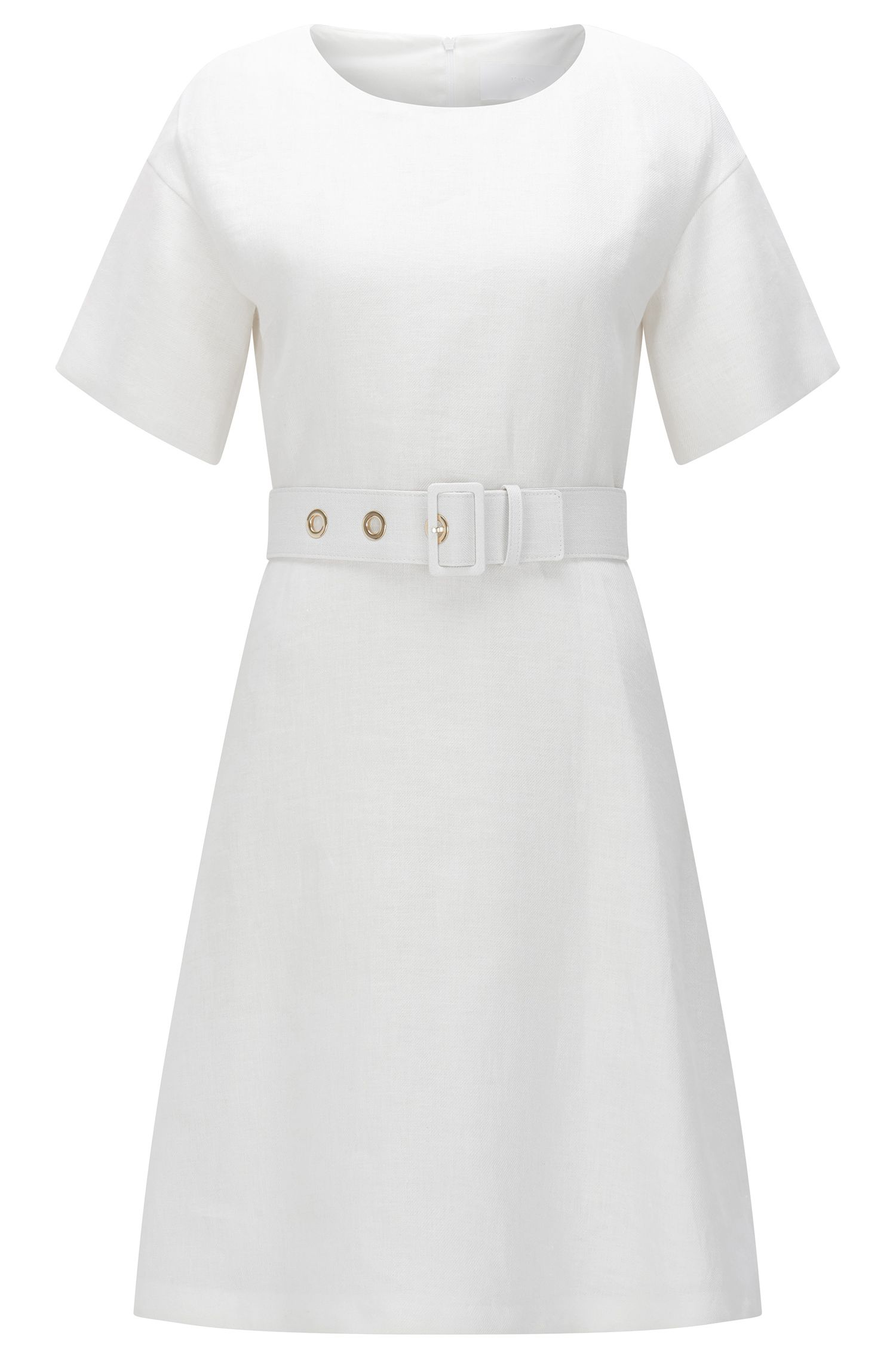 Linen dress with belt: 'Dimisa'