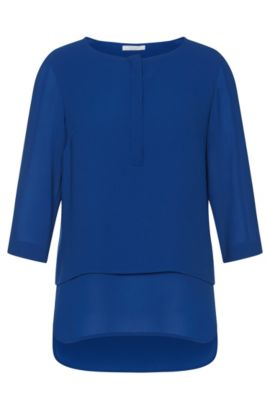 Layered-look blouse in material blend: 'Baliana1', Blue