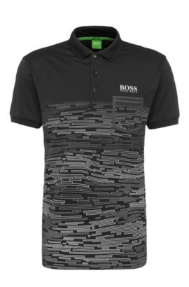 Patterned slim-fit polo shirt in stretchy fabric blend: 'Paule Pro 2', Black