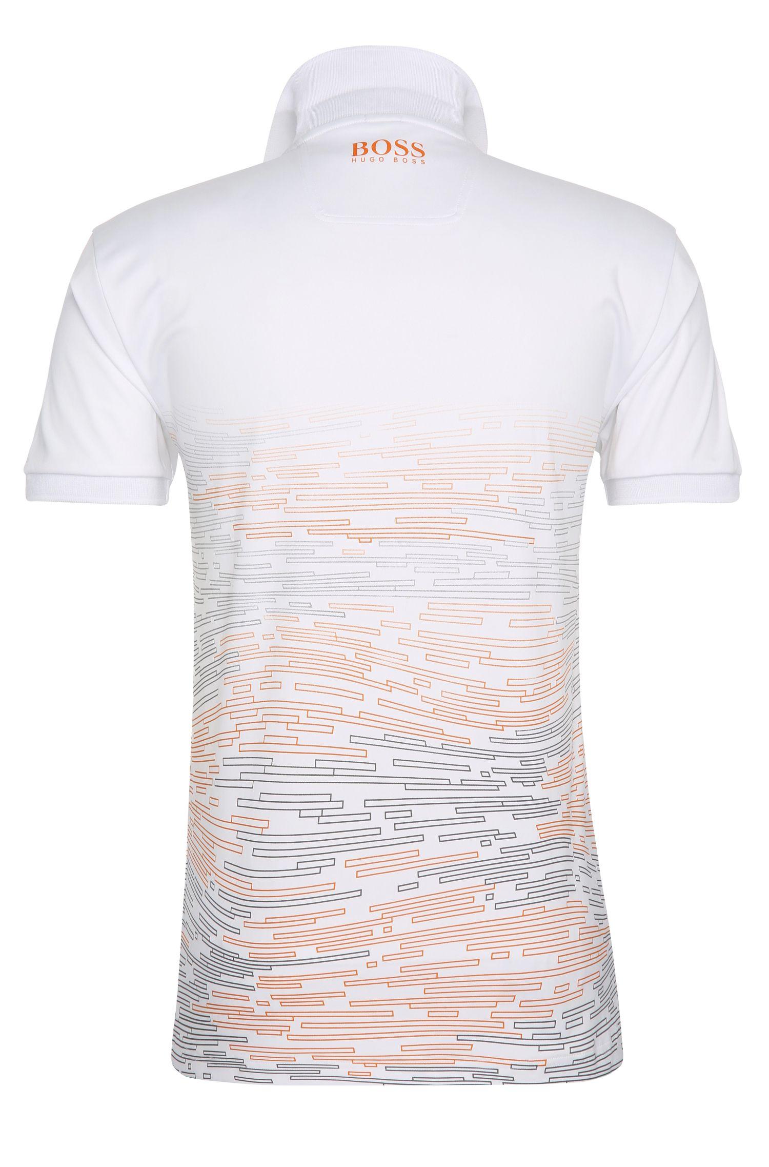 Polo slim fit estampado en mezcla de materiales elásticos: 'Paule Pro 2', Blanco