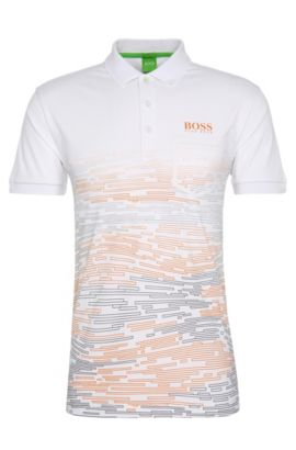 Patterned slim-fit polo shirt in stretchy fabric blend: 'Paule Pro 2', White