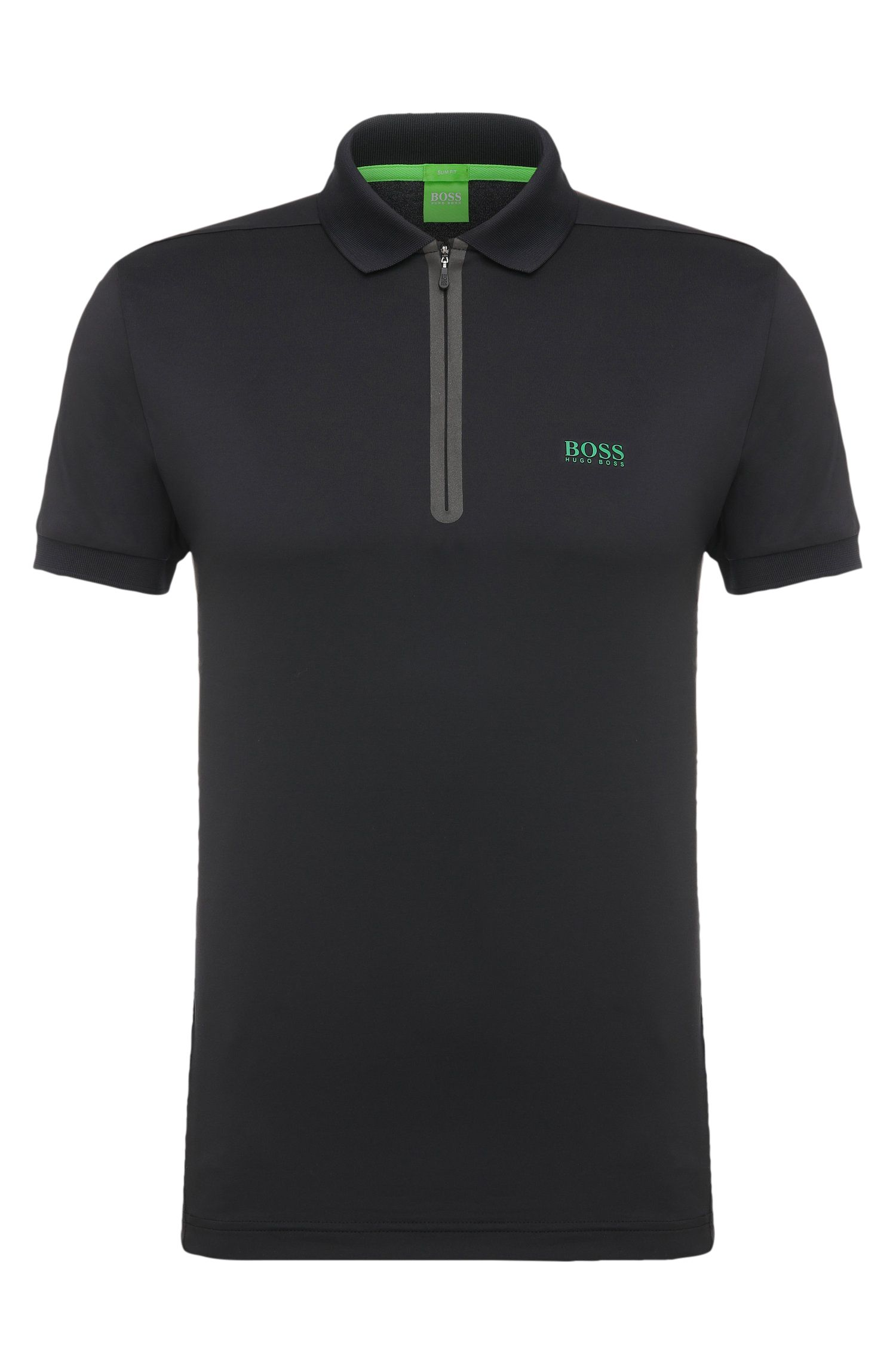 Polo slim fit in materiali misti elasticizzati: 'Pavotech'