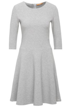 Dress in textured cotton blend: 'Dipleati', Grey