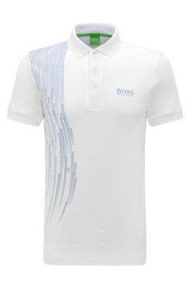 Slim-fit polo shirt in stretch fabric blend: 'Paule Pro 3', White