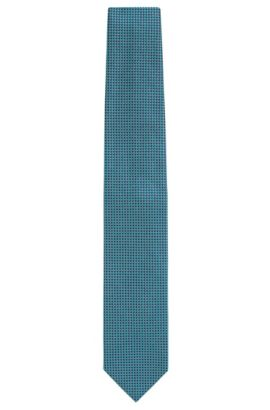 Silk tie with all-over pattern: 'Tie 7 cm', Green