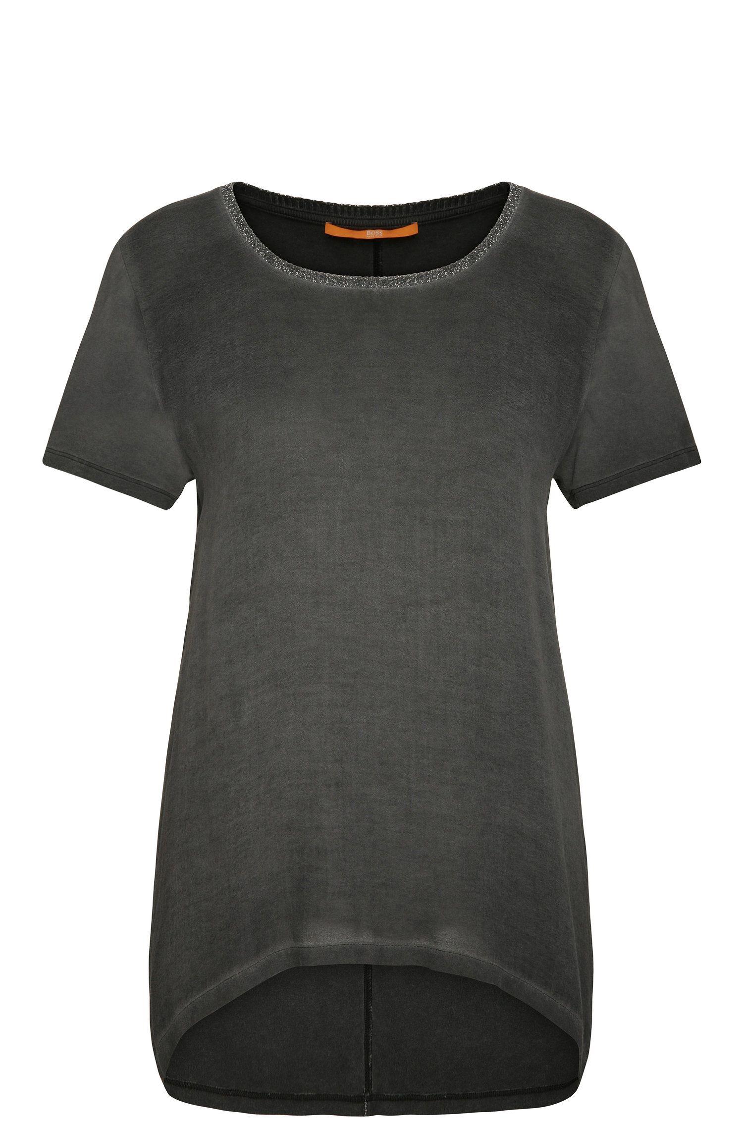 T-Shirt relaxed fit in viscosa con dettagli glitter: 'Tahiri'