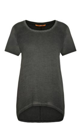 Relaxed-Fit T-Shirt aus Viskose mit Glitzer-Detail: ´Tahiri`, Schwarz