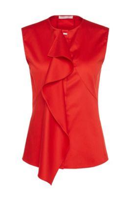 Blusa en algodón elástico con volantes: 'Basenia', Rojo