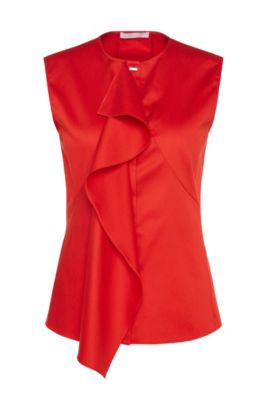 Blouse in stretch cotton with flounced detail: 'Basenia', Red