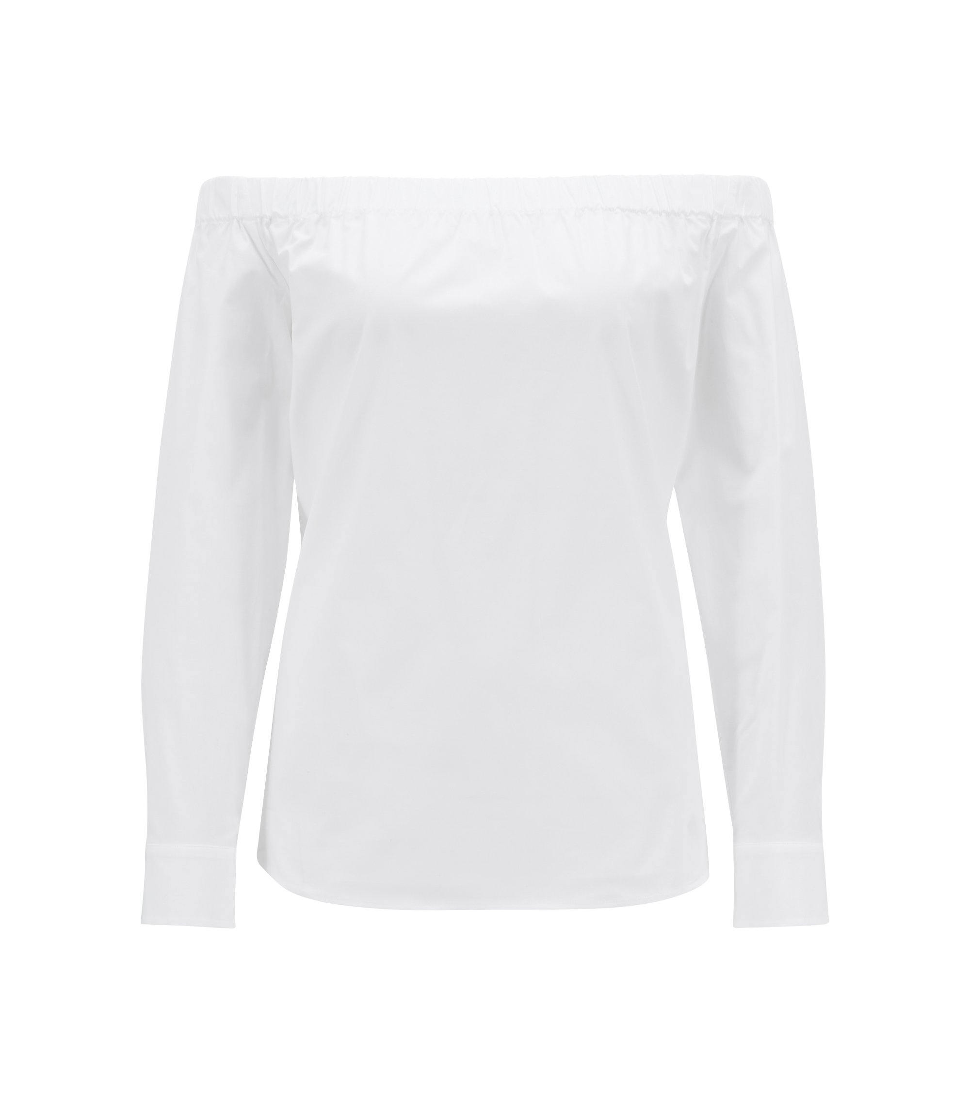 Regular-fit Bardot blouse in stretch cotton, White