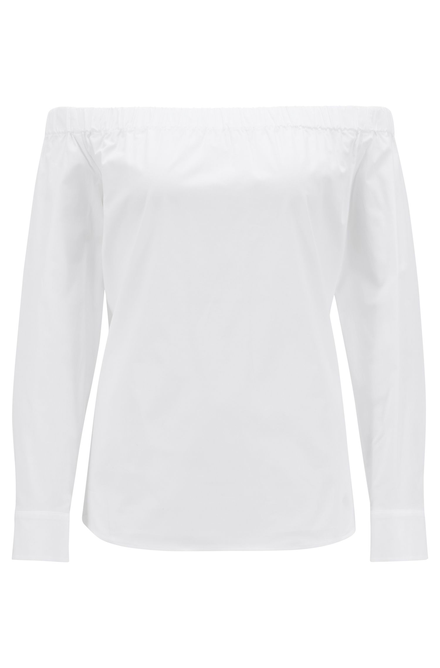 Regular-fit Bardot-blouse van stretchkatoen