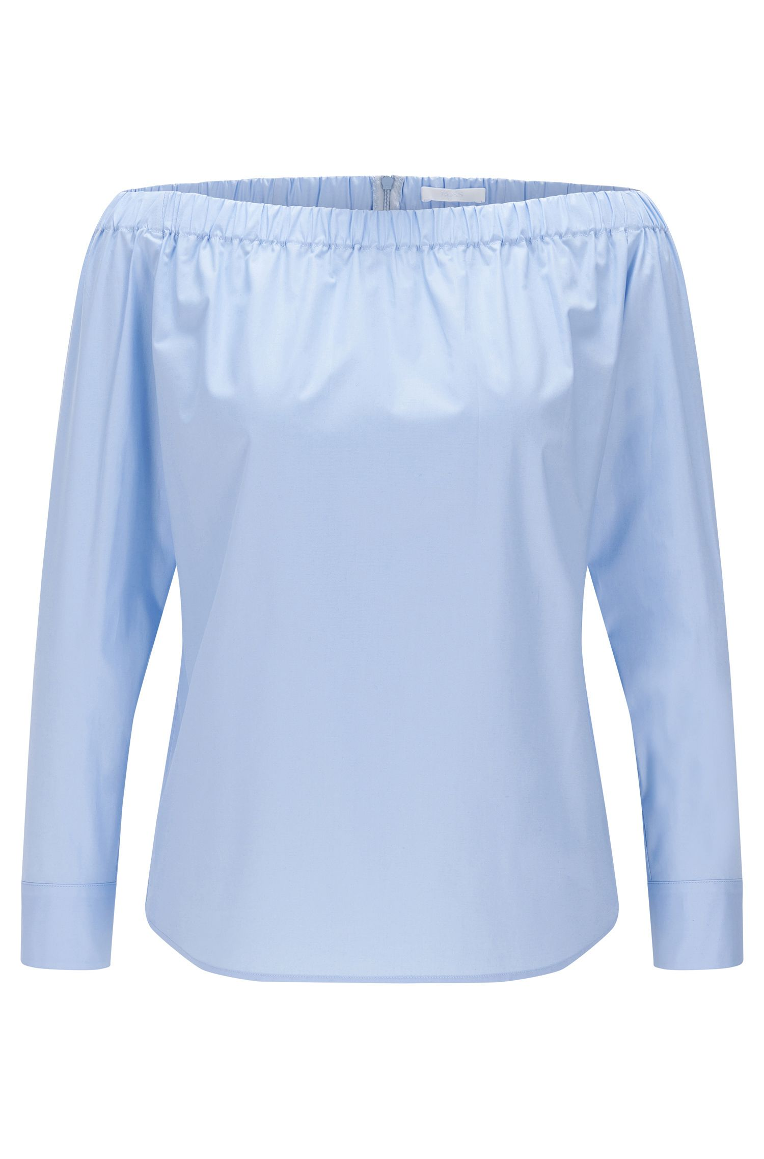 Plain Carmen blouse in stretch cotton: 'Bagiana'