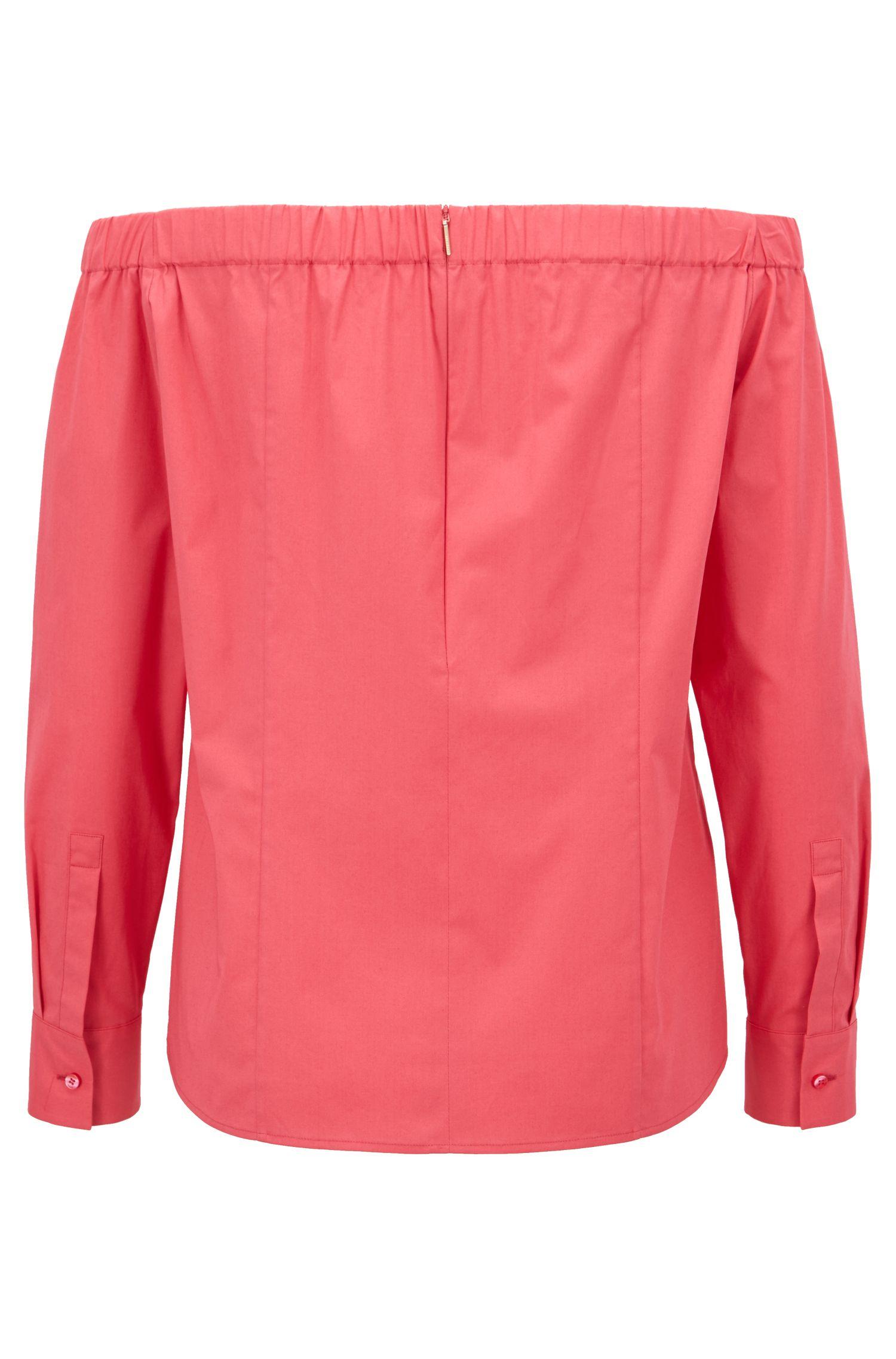 Schulterfreie Regular-Fit Bluse aus elastischer Baumwolle