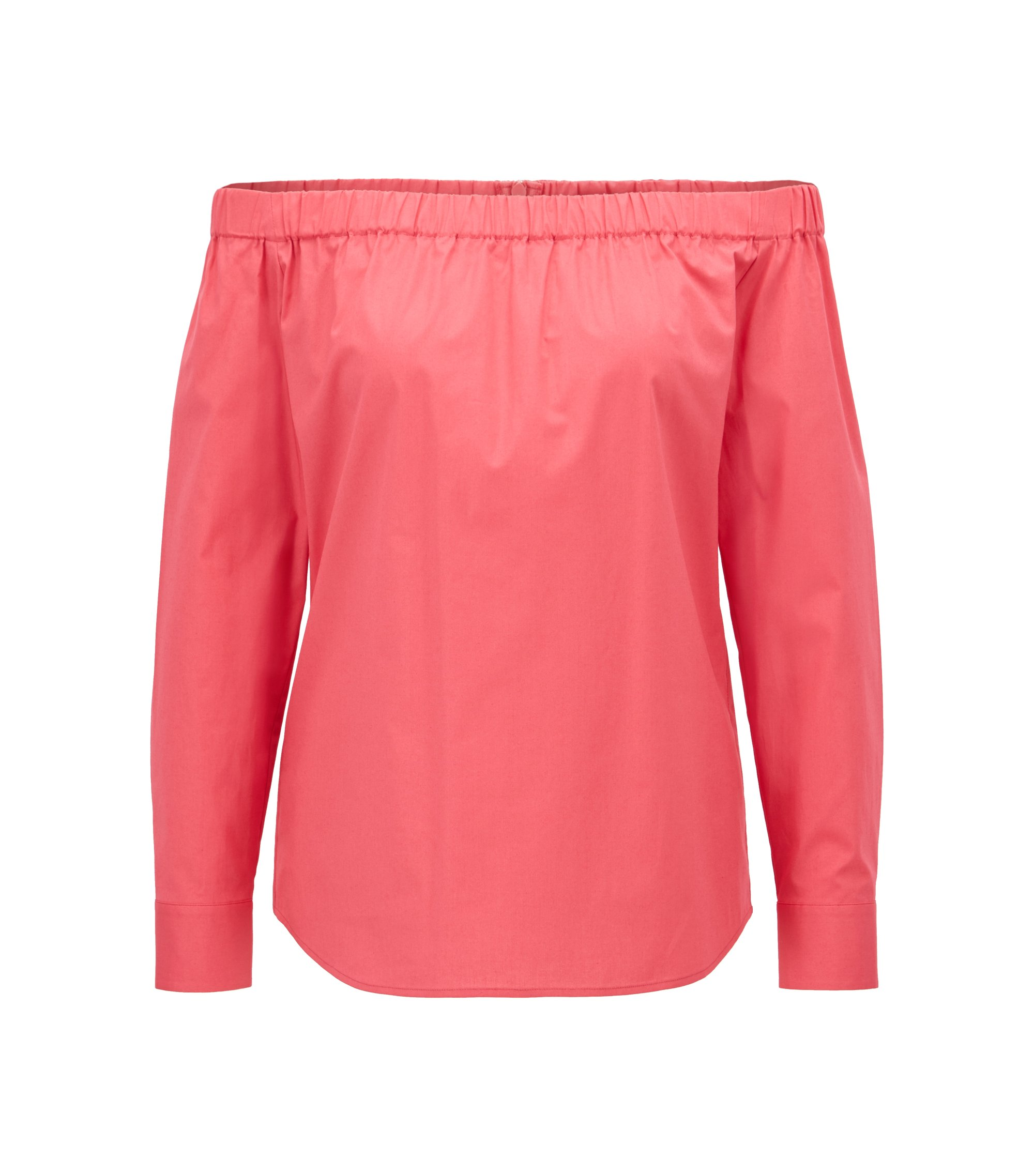 Regular-fit Bardot blouse in stretch cotton, Open Pink