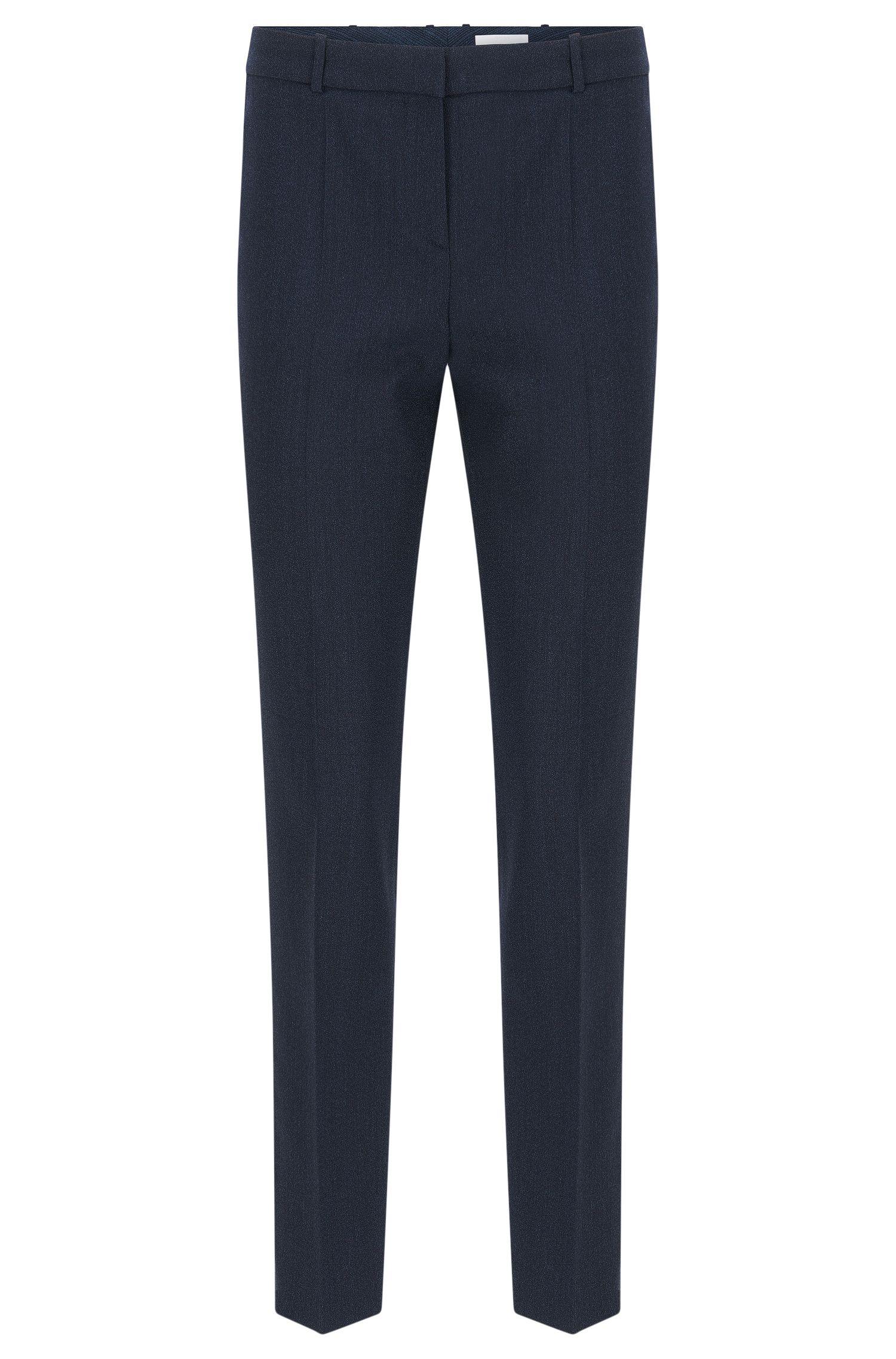 Regular-fit broek van scheerwol met stretch en met scherpe vouwen: 'Tiluna9'