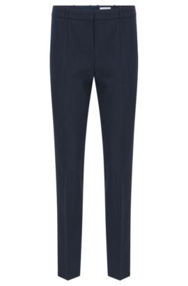 Regular-fit trousers in stretch new wool with pressed creases: 'Tiluna9', Open Blue