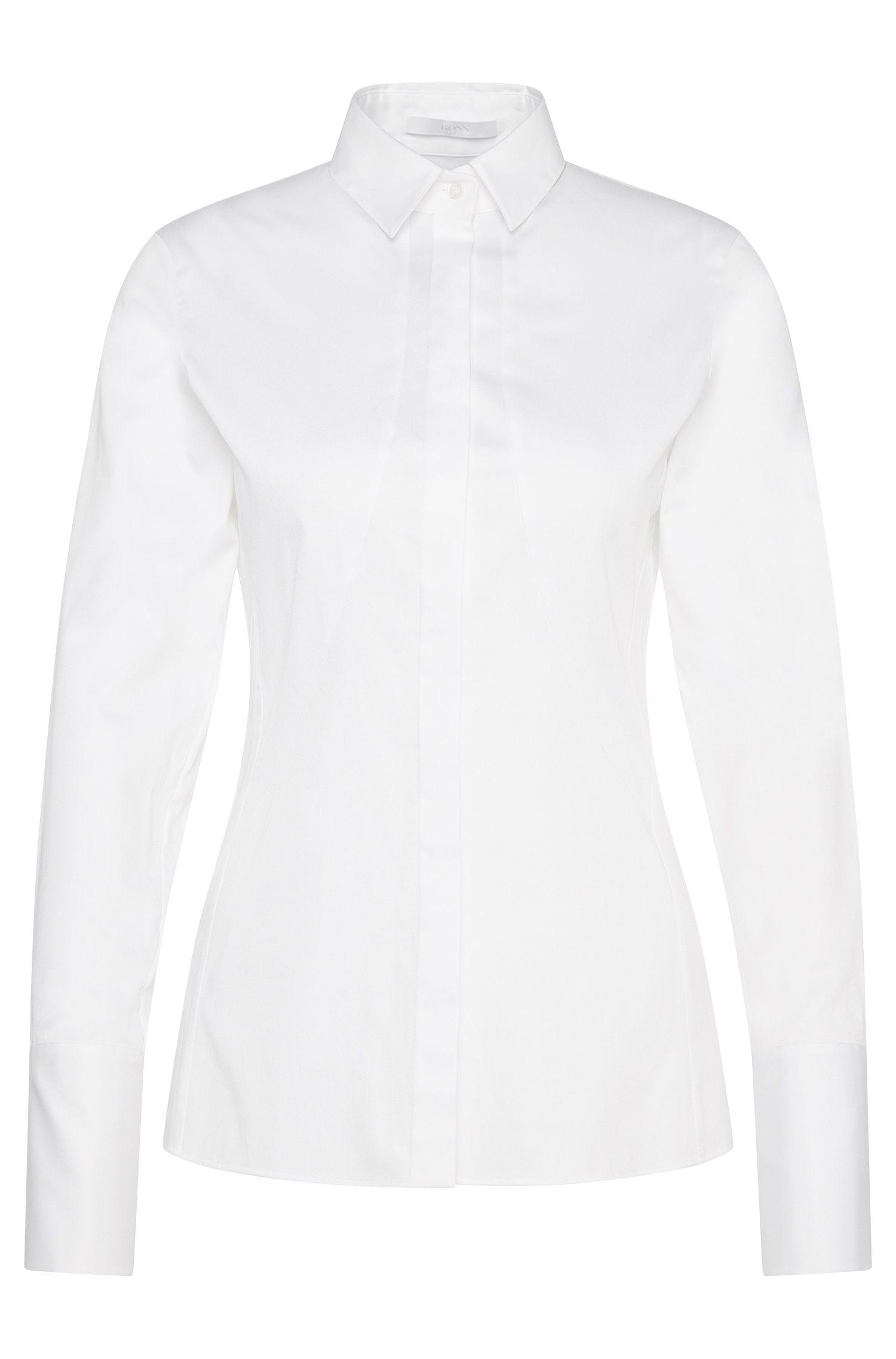 Blusa entallada en algodón elástico: 'Basani'